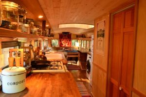 This is a school bus. It was created by the couple behind the Teeny Tiny Living blog.