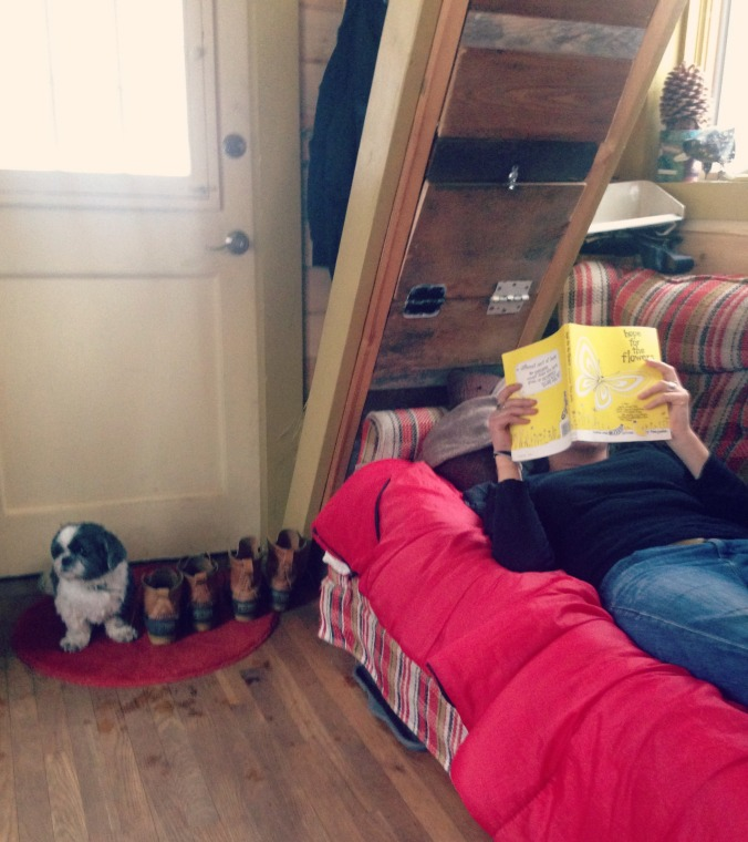 The author engrossed in a book about curious caterpillars that like to hug. Pants is engrossed in wondering why we're not outside. The stairs above my head lead to the sleeping loft.
