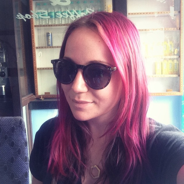 This is Shannon. She is actually blonde and has an job in London where she works with actual adults. She went back to work with only slightly less pink hair.